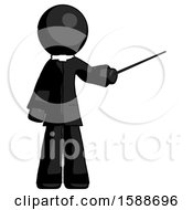 Black Clergy Man Teacher Or Conductor With Stick Or Baton Directing