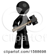 Black Clergy Man With Sledgehammer Standing Ready To Work Or Defend