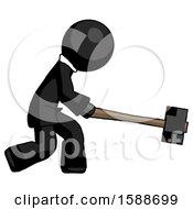 Black Clergy Man Hitting With Sledgehammer Or Smashing Something