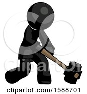 Black Clergy Man Hitting With Sledgehammer Or Smashing Something At Angle