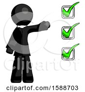Black Clergy Man Standing By List Of Checkmarks