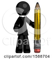 Black Clergy Man With Large Pencil Standing Ready To Write