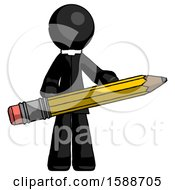 Black Clergy Man Writer Or Blogger Holding Large Pencil