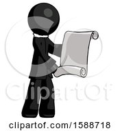 Black Clergy Man Holding Blueprints Or Scroll