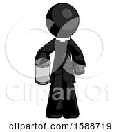 Black Clergy Man Begger Holding Can Begging Or Asking For Charity