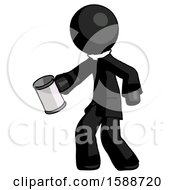 Black Clergy Man Begger Holding Can Begging Or Asking For Charity Facing Left