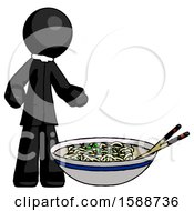 Black Clergy Man And Noodle Bowl Giant Soup Restaraunt Concept