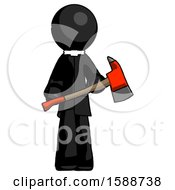 Black Clergy Man Holding Red Fire Fighters Ax