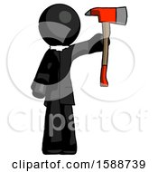 Black Clergy Man Holding Up Red Firefighters Ax