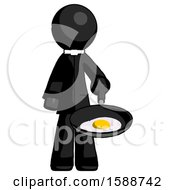 Poster, Art Print Of Black Clergy Man Frying Egg In Pan Or Wok