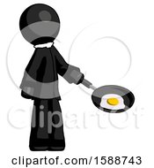 Black Clergy Man Frying Egg In Pan Or Wok Facing Right