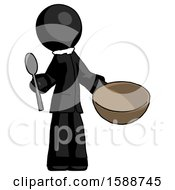 Black Clergy Man With Empty Bowl And Spoon Ready To Make Something