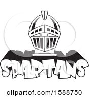 Clipart Of A Black And White Helmet Over Spartans Text Royalty Free Vector Illustration