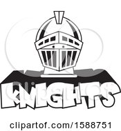 Clipart Of A Black And White Helmet Over Knights Text Royalty Free Vector Illustration