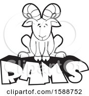 Clipart Of A Black And White Sitting Ram Mascot On Text Royalty Free Vector Illustration