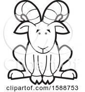 Clipart Of A Black And White Sitting Ram Mascot Royalty Free Vector Illustration by Johnny Sajem