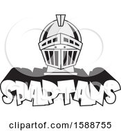 Poster, Art Print Of Silver Helmet Over Spartans Text