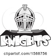 Clipart Of A Silver Helmet Over Knights Text Royalty Free Vector Illustration
