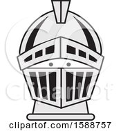 Clipart Of A Silver Spartan Or Knight Helmet Royalty Free Vector Illustration