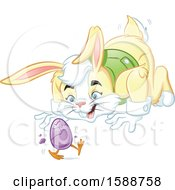 Clipart Of A Yellow Easter Bunny Watching A Chick Walking As It Hatches From An Egg Royalty Free Vector Illustration by Lawrence Christmas Illustration