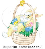 Clipart Of A Yellow Bunny Rabbit Relaxing In An Easter Basket Royalty Free Vector Illustration