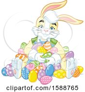 Clipart Of A Yellow Easter Bunny Rabbit In A Pile Of Eggs Royalty Free Vector Illustration by Lawrence Christmas Illustration