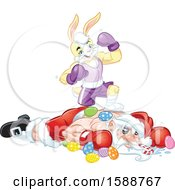Clipart Of A Yellow Easter Bunny Rabbit Boxer Standing On Top Of Santa After A Knock Out Royalty Free Vector Illustration by Lawrence Christmas Illustration