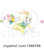 Clipart Of A Yellow Easter Bunny Rabbit Running And Throwing Eggs Royalty Free Vector Illustration by Lawrence Christmas Illustration