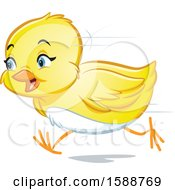 Clipart Of A Yellow Easter Chick Running Royalty Free Vector Illustration