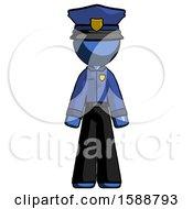 Blue Police Man Standing Facing Forward