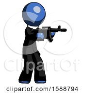 Blue Clergy Man Shooting Automatic Assault Weapon