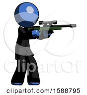 Blue Clergy Man Shooting Sniper Rifle
