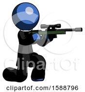 Blue Clergy Man Kneeling Shooting Sniper Rifle