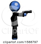 Blue Clergy Man Firing A Handgun