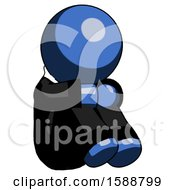 Blue Clergy Man Sitting With Head Down Facing Angle Right