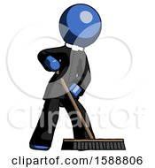 Blue Clergy Man Cleaning Services Janitor Sweeping Floor With Push Broom