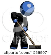 Blue Clergy Man Cleaning Services Janitor Sweeping Side View