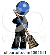 Blue Clergy Man Sweeping Area With Broom