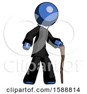 Blue Clergy Man Walking With Hiking Stick