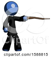 Blue Clergy Man Pointing With Hiking Stick