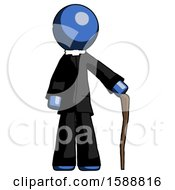 Blue Clergy Man Standing With Hiking Stick