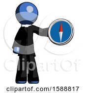 Blue Clergy Man Holding A Large Compass