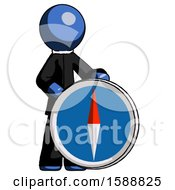 Blue Clergy Man Standing Beside Large Compass