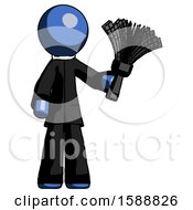 Blue Clergy Man Holding Feather Duster Facing Forward