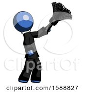 Blue Clergy Man Dusting With Feather Duster Upwards