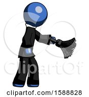 Blue Clergy Man Dusting With Feather Duster Downwards