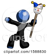 Blue Clergy Man Holding Jester Staff Posing Charismatically