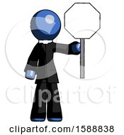 Blue Clergy Man Holding Stop Sign