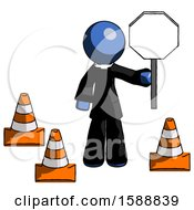 Blue Clergy Man Holding Stop Sign By Traffic Cones Under Construction Concept