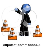 Blue Clergy Man Standing By Traffic Cones Waving